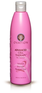 Ovation Hair's Pink Cell Therapy bottle supporting Breast Cancer Awareness Month