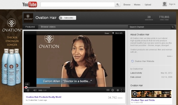Ovation Hair Product Reviews on You Tube
